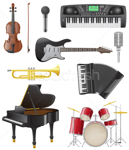 set icons of musical instruments vector illustration Stock photo © konturvid