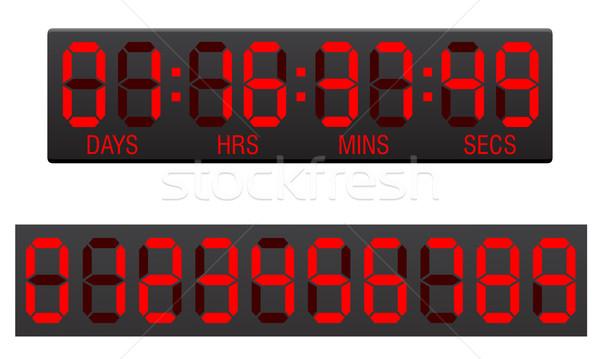 Sayı tahtası dijital geriye sayım saat yalıtılmış beyaz Stok fotoğraf © konturvid