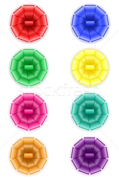 Ingesteld iconen boeg geschenk geïsoleerd witte Stockfoto © konturvid