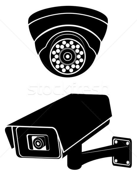 Megfigyelés fényképezőgépek fekete sziluett izolált fehér Stock fotó © konturvid
