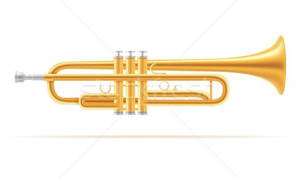 Trombita szél hangszerek stock izolált fehér Stock fotó © konturvid