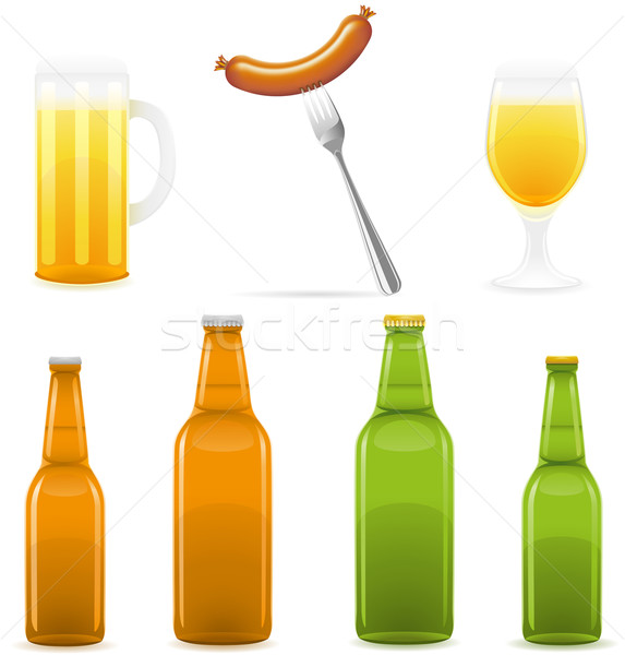 beer bottle glass and sausage vector illustration Stock photo © konturvid