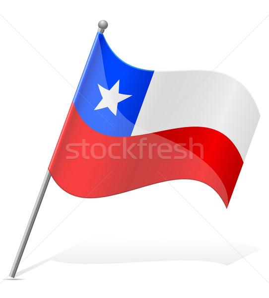 Zászló Chile izolált fehér földgömb világ Stock fotó © konturvid