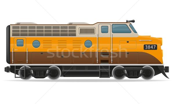 Chemin de fer locomotive train isolé blanche route Photo stock © konturvid