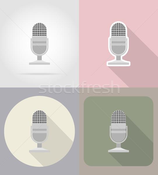 old retro microphone flat icons vector illustration Stock photo © konturvid