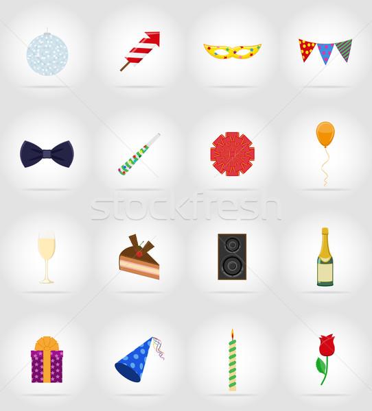 celebrations set flat icons vector illustration Stock photo © konturvid