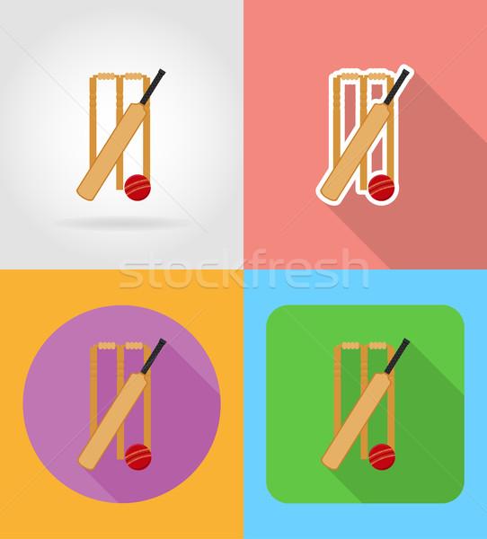 Conjunto equipamento críquete ícones isolado Foto stock © konturvid
