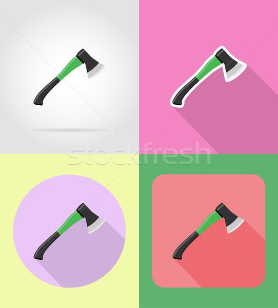gardening tool ax flat icons vector illustration Stock photo © konturvid