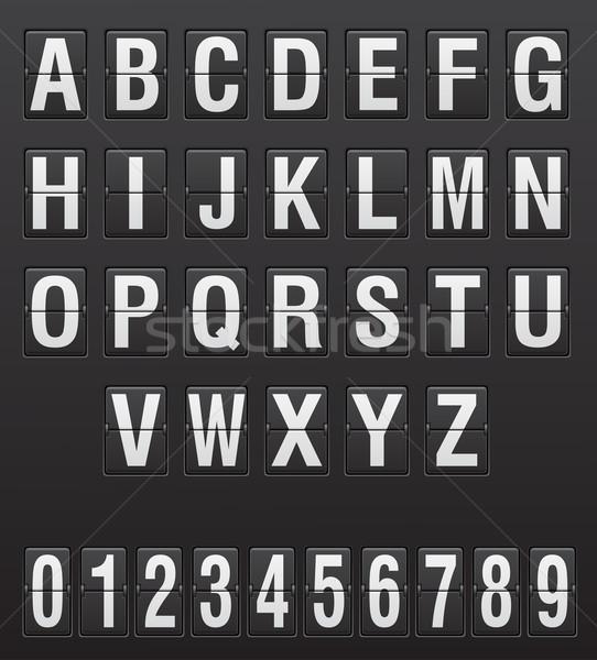 Scorebord Engels brieven cijfers geïsoleerd witte Stockfoto © konturvid