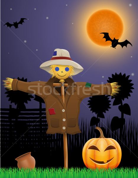 halloween pumpkin and scarecrow in the night sky Stock photo © konturvid