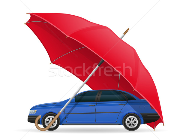 concept of protected and insured car umbrella vector illustratio Stock photo © konturvid