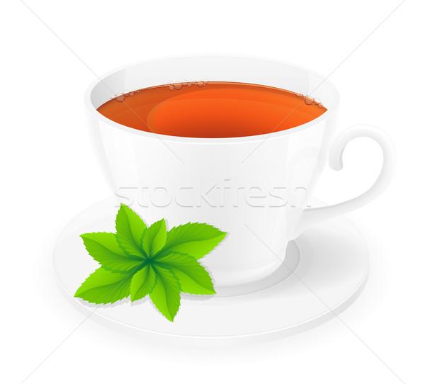 Porcelana kubek herbaty mięty odizolowany biały Zdjęcia stock © konturvid