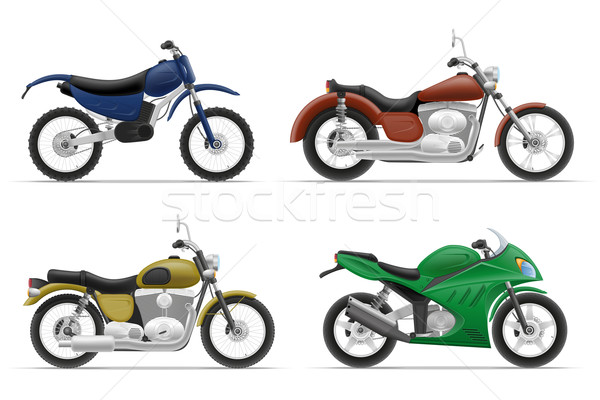 motorcycle set icons vector illustration Stock photo © konturvid