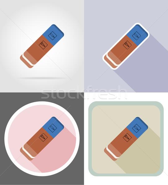 eraser gum stationery equipment set flat icons vector illustrati Stock photo © konturvid