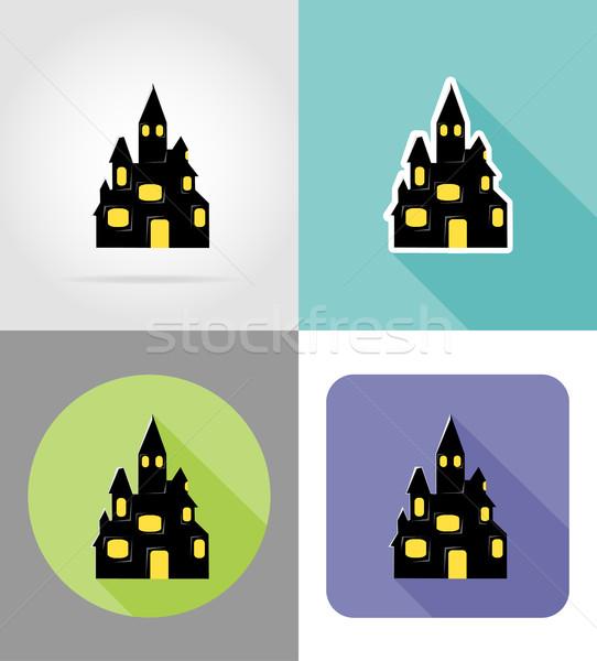 Halloween oude kasteel iconen geïsoleerd maan Stockfoto © konturvid