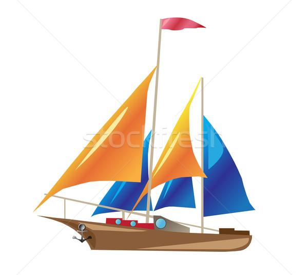 Schip illustratie geïsoleerd witte zomer Blauw Stockfoto © konturvid
