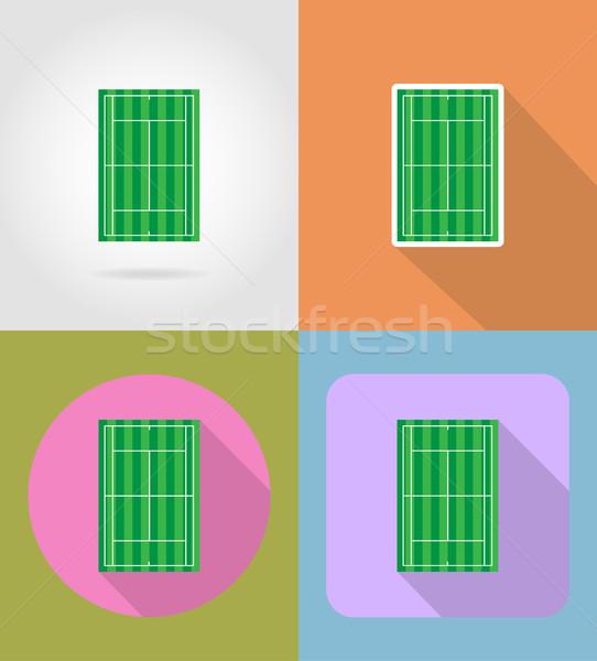 tennis court flat icons vector illustration Stock photo © konturvid