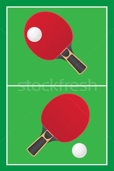 Tafeltennis ping pong vector sport spel groene Stockfoto © konturvid
