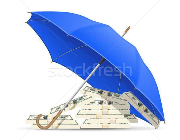 concept of protected and insured dollars umbrella vector illustr Stock photo © konturvid