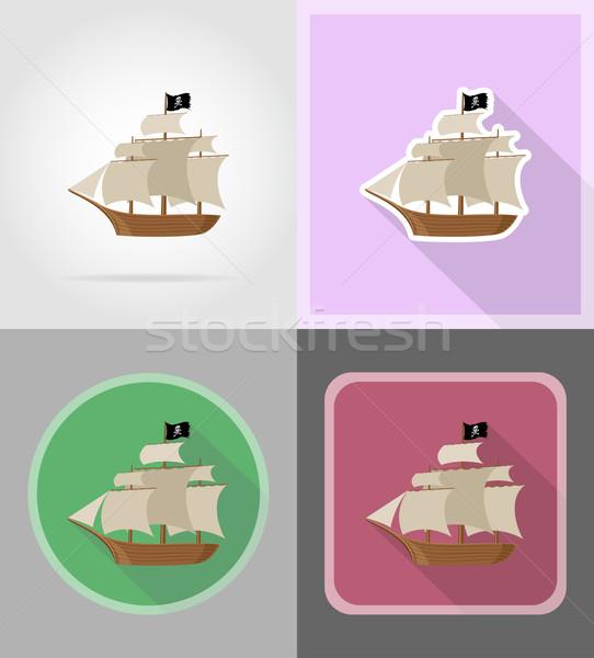 Kalóz hajó ikonok izolált tenger zászló Stock fotó © konturvid
