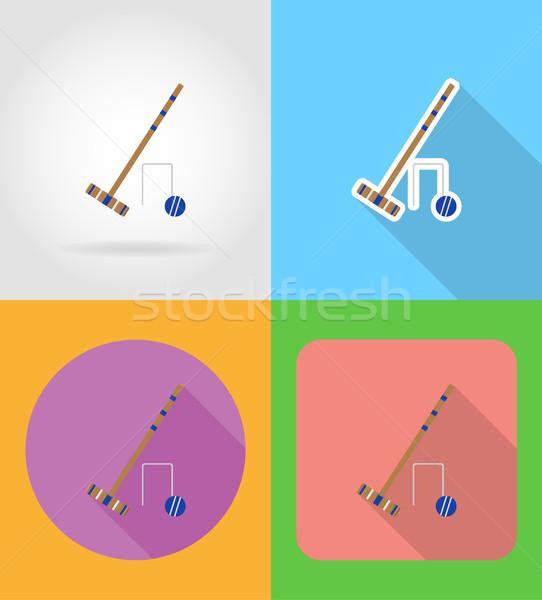 set equipment for croquet flat icons vector illustration Stock photo © konturvid