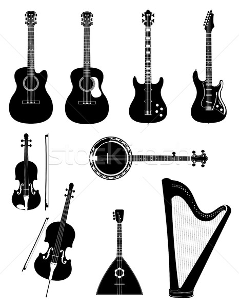 stringed musical instruments black outline silhouette stock vect Stock photo © konturvid
