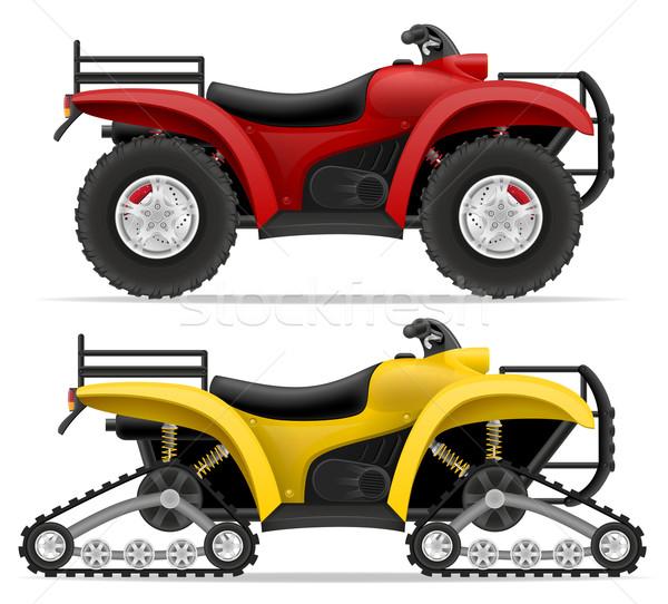 atv motorcycle on four wheels and trucks off roads vector illust Stock photo © konturvid