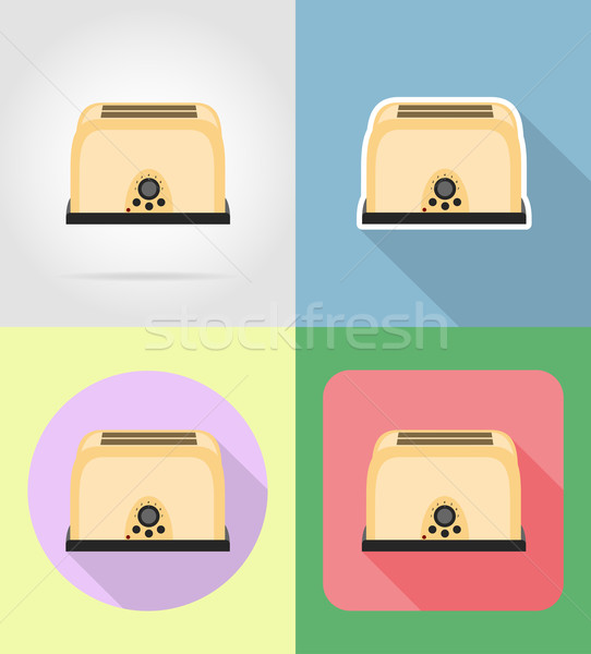 toaster household appliances for kitchen flat icons vector illus Stock photo © konturvid