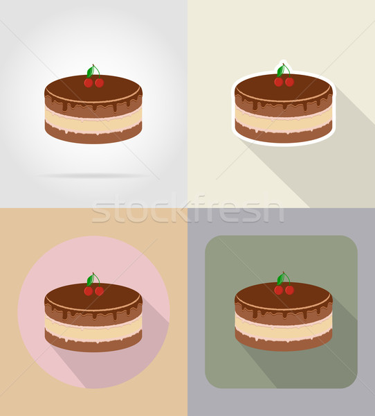chocolate cake food and objects flat icons vector illustration Stock photo © konturvid