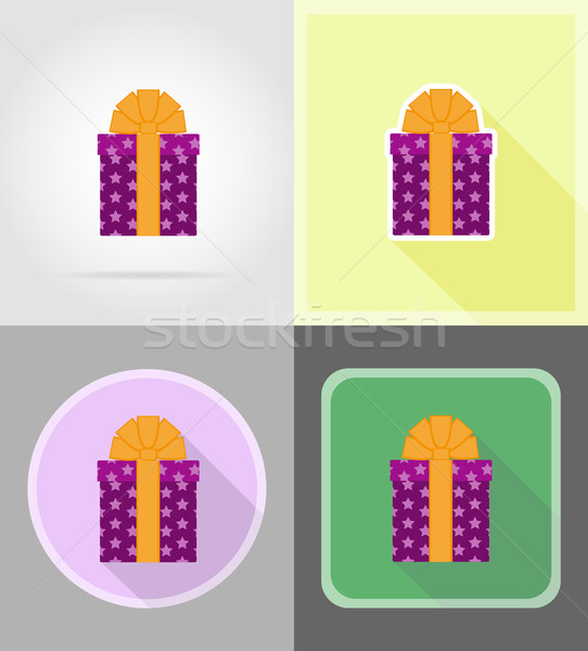 Stock photo: gift box with a bow flat icons vector illustration