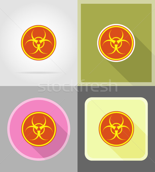 sign biohazard flat icons vector illustration Stock photo © konturvid