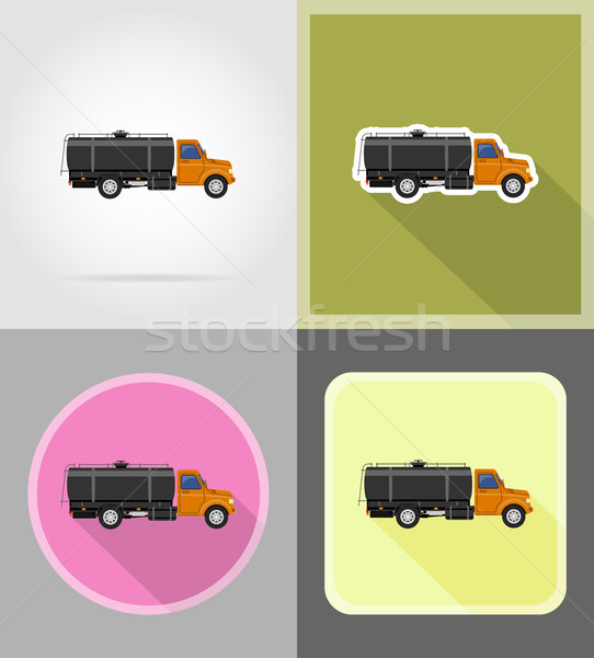 cargo truck delivery and transportation of fuel flat icons vecto Stock photo © konturvid