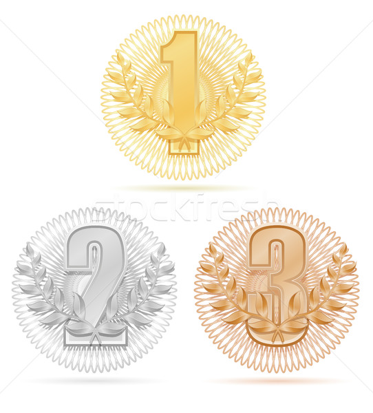 laureate wreath winner sport gold silver bronze stock vector ill Stock photo © konturvid