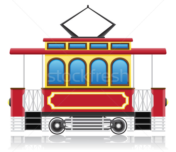 old retro tram vector illustration Stock photo © konturvid