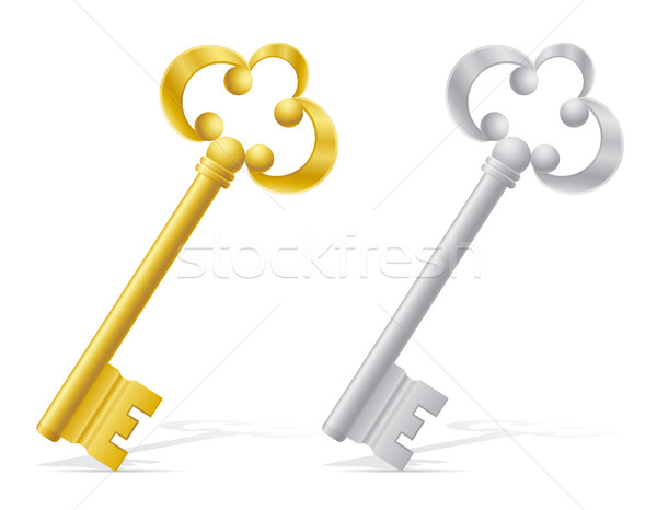 old retro keys door lock vector illustration Stock photo © konturvid
