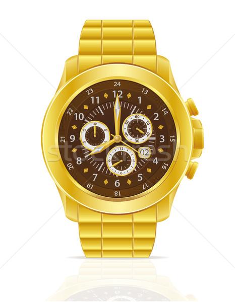 Foto stock: Ouro · mecânico · pulseira · isolado · branco