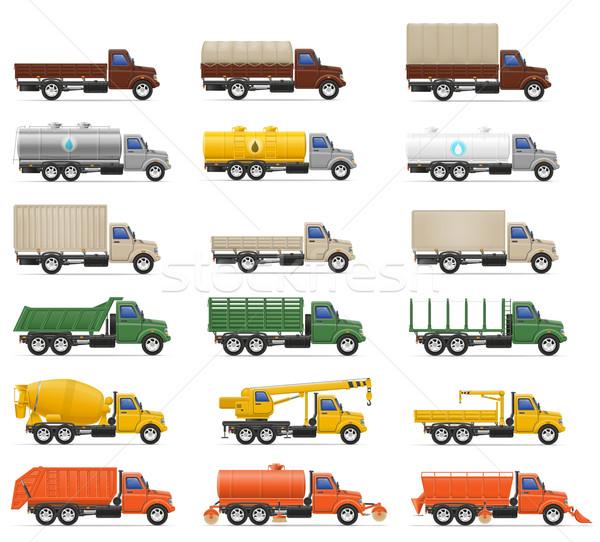 set icons trucks semi trailer vector illustration Stock photo © konturvid