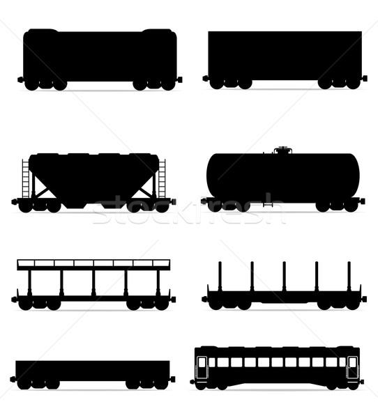 Szett ikonok vasút fuvar vonat fekete Stock fotó © konturvid