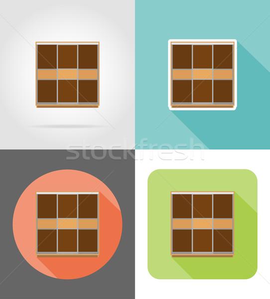 Garderobe meubels ingesteld iconen geïsoleerd witte Stockfoto © konturvid