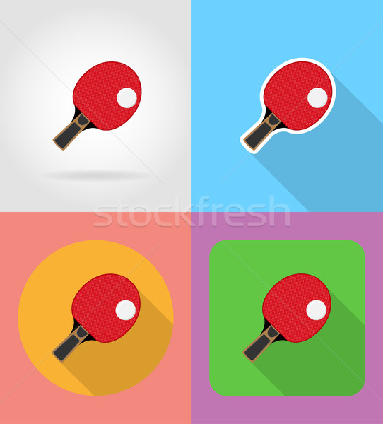racket and ball for table tennis ping pong flat icons vector ill Stock photo © konturvid