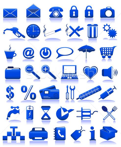 Azul iconos aislado blanco ordenador teléfono Foto stock © konturvid
