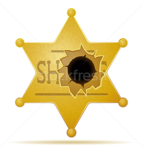 sheriff star with a bullet hole vector illustration Stock photo © konturvid