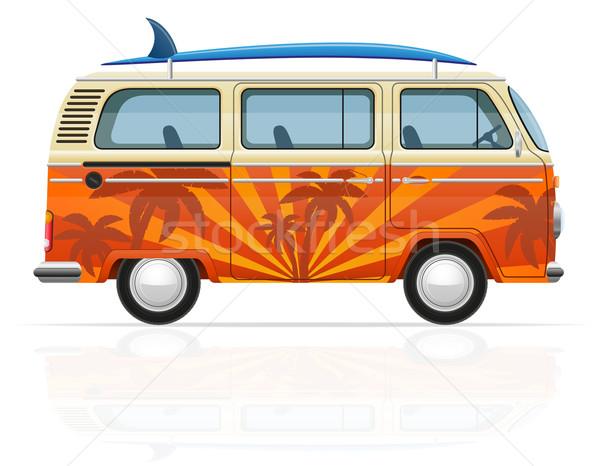 retro minivan with a surfboard vector illustration Stock photo © konturvid