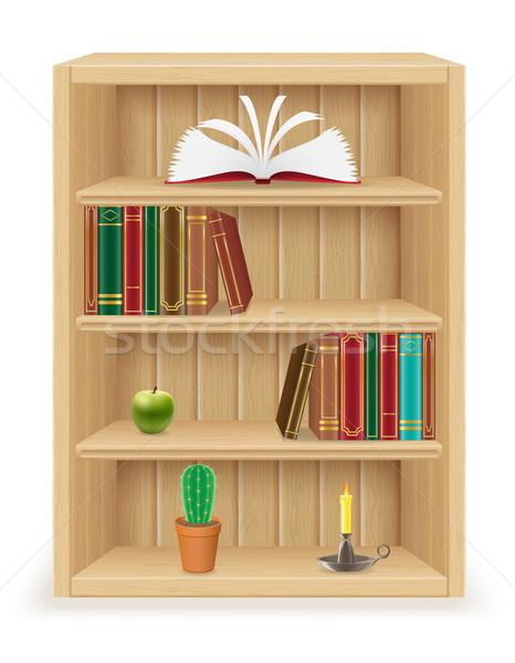 книжная полка мебель древесины изолированный белый дизайна Сток-фото © konturvid