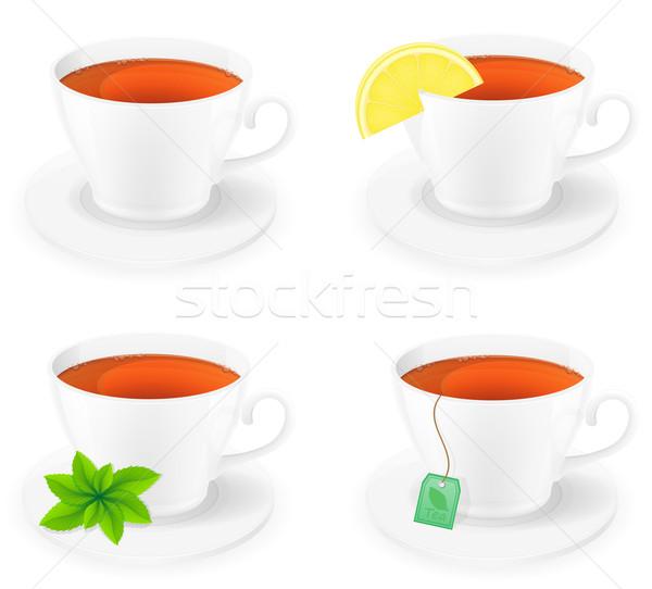 porcelain cup of tea with lemon and mint side view vector illust Stock photo © konturvid