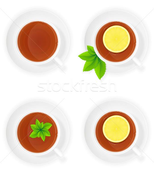 Porselein beker thee citroen mint top Stockfoto © konturvid