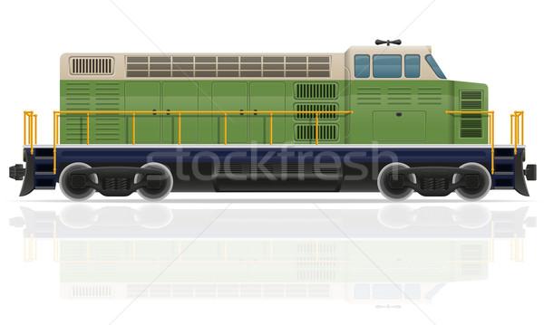 Spoorweg locomotief trein geïsoleerd witte weg Stockfoto © konturvid