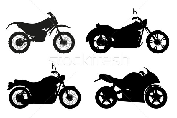 motorcycle set icons black outline silhouette vector illustratio Stock photo © konturvid