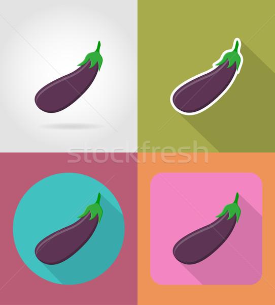 Padlizsán zöldség ikonok árnyék vektor izolált Stock fotó © konturvid