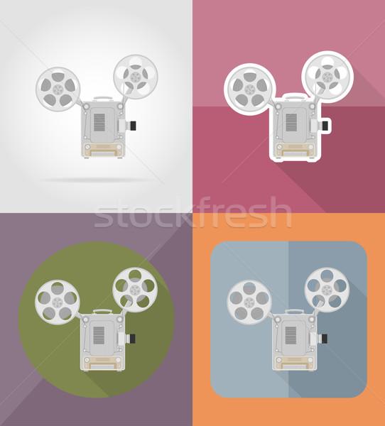 old retro vintage movie film projector flat icons vector illustr Stock photo © konturvid